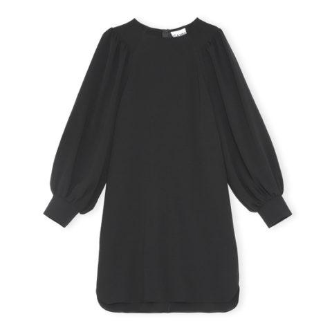 Ganni 4555 HEAVY CREPE DRESS, Black