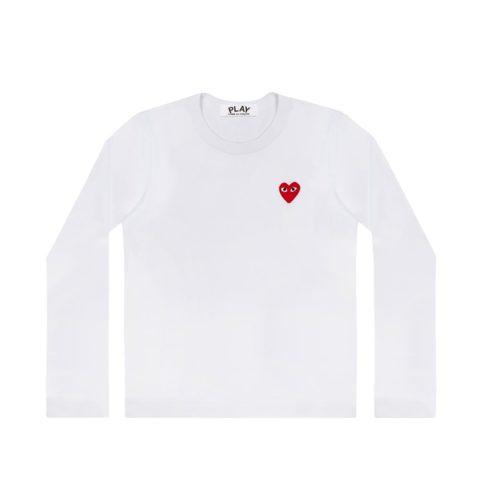 Comme des Garçons PLAY M'S RED HEART LS TEE, White