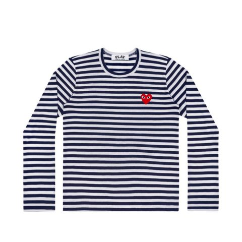 Comme des Garçons PLAY M'S RED HEART STRIPED LS TEE, Navy/White