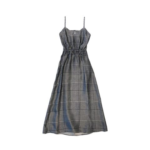 MM6 LONG SPAGHETTI STRAP DRESS, Ecru/Black Check