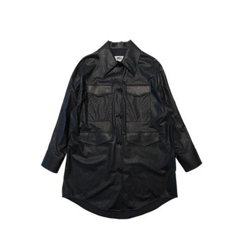MM6 OVERSIZED FAUX LEATHER COAT, Black