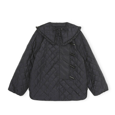 Ganni RECYCLED RIPSTOP QUILT COAT, Black