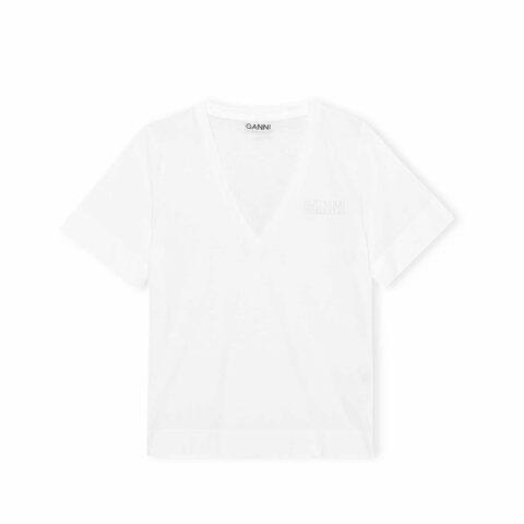 Ganni THIN SOFTWARE JERSEY V-NECK T-SHIRT, White