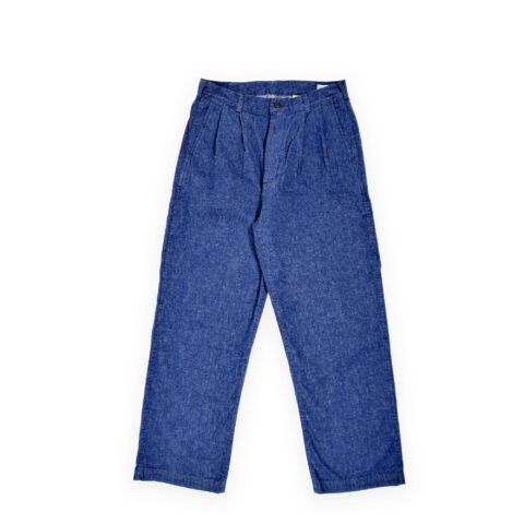 Orslow TWO TUCK DENIM WIDE TROUSER, One Wash