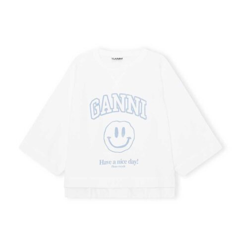 Ganni HAVE A NICE DAY SMILEY GANNI GRAPHIC PULLOVER, Heather