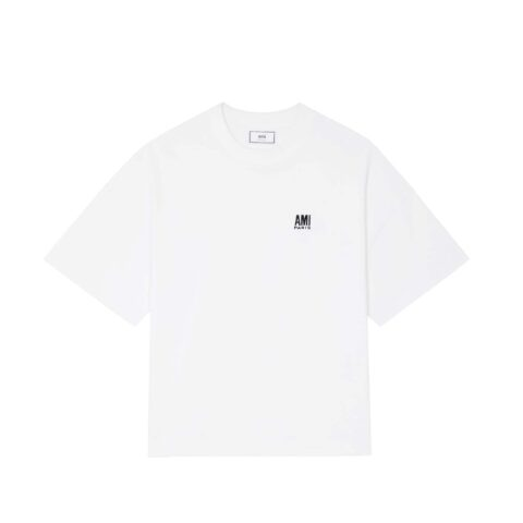 AMI PARIS EMBROIDERED OVERSIZE T-SHIRT, White