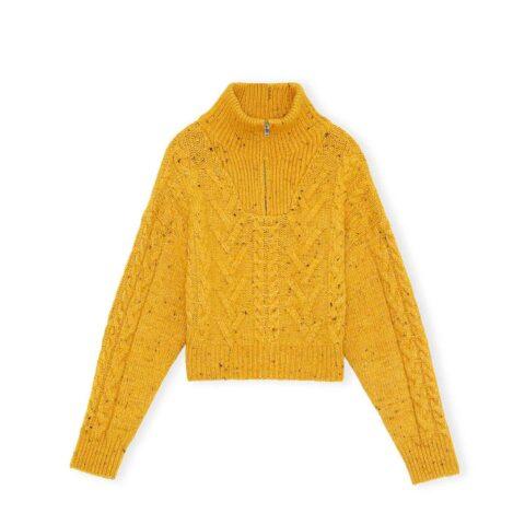 Ganni CABLED SHRUNKEN MOCK-TURTLENECK PULLOVER, Spectra Yellow